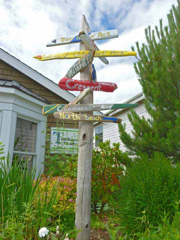 Fun focal point with a painted driftwood sign