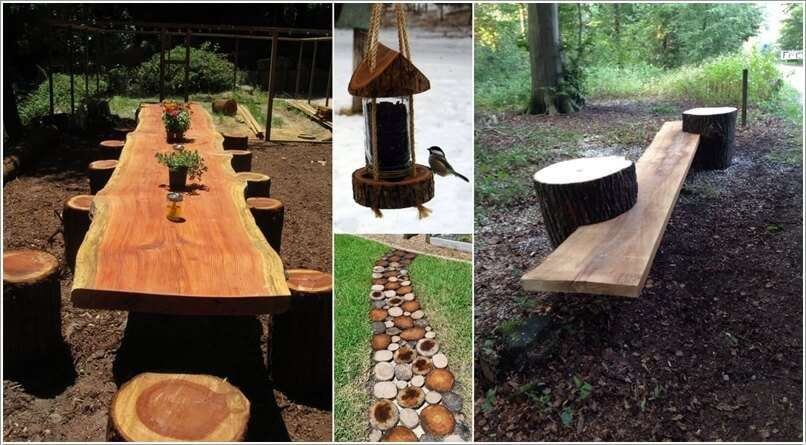 15 ideas to decorate your garden with a fallen tree or logs for What to make with tree logs