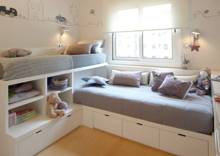 12 clever small kids room storage ideas - Space saving bunk beds for small rooms ...