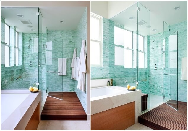 13 A Turquoise White And Wood Bathroom