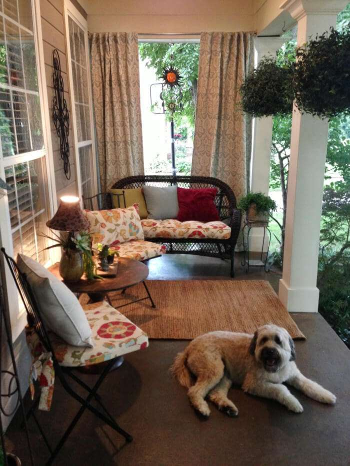 6. Curtains are a fancy touch to a porch.