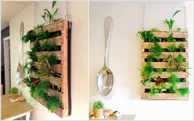 9. Make A Hanging Indoor Vertical Garden With Recycled Pallets