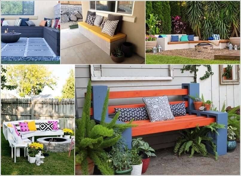10 cool diy outdoor bench projects you will love for Cinder block seating area