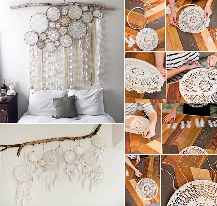 Make this beautiful doily dream catcher for your bedroom for Make your dream bedroom