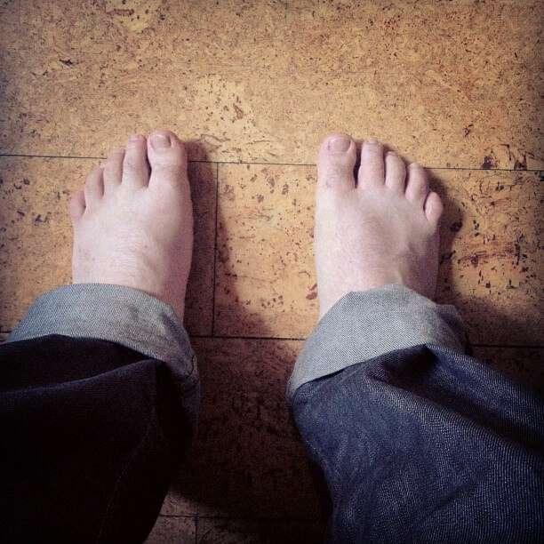 Someone standing on cork flooring