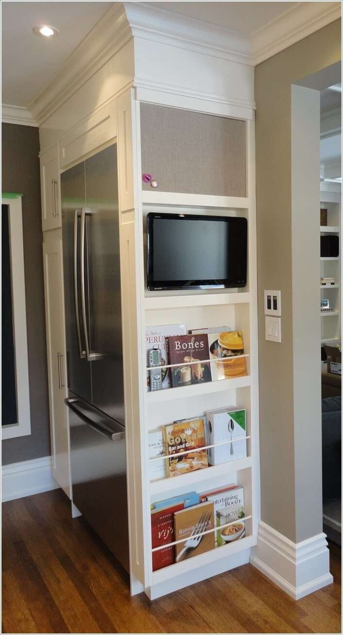 How to hack the empty space around your fridge for Tv in the kitchen ideas