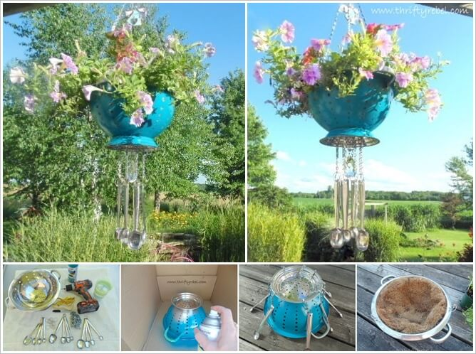 1  Make This Colander Planter Wind Chime for Your Garden 123