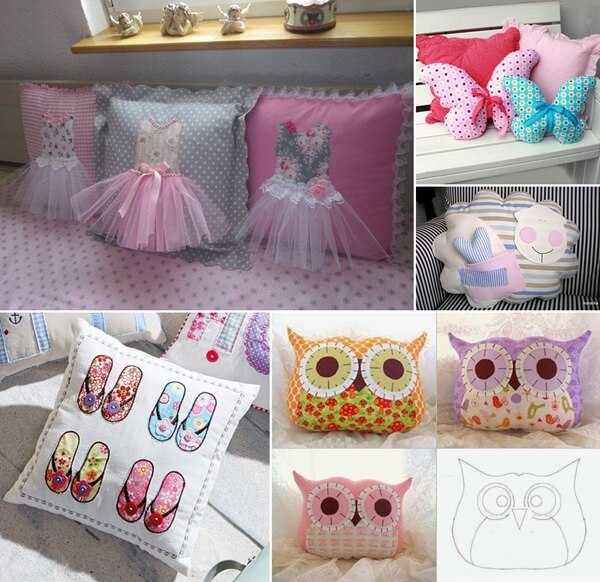 look at these adorable pillow ideas for kiddos