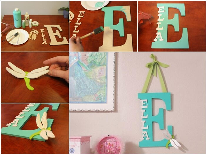 Make a kids39 room monogram from wooden letters for Making wooden letters