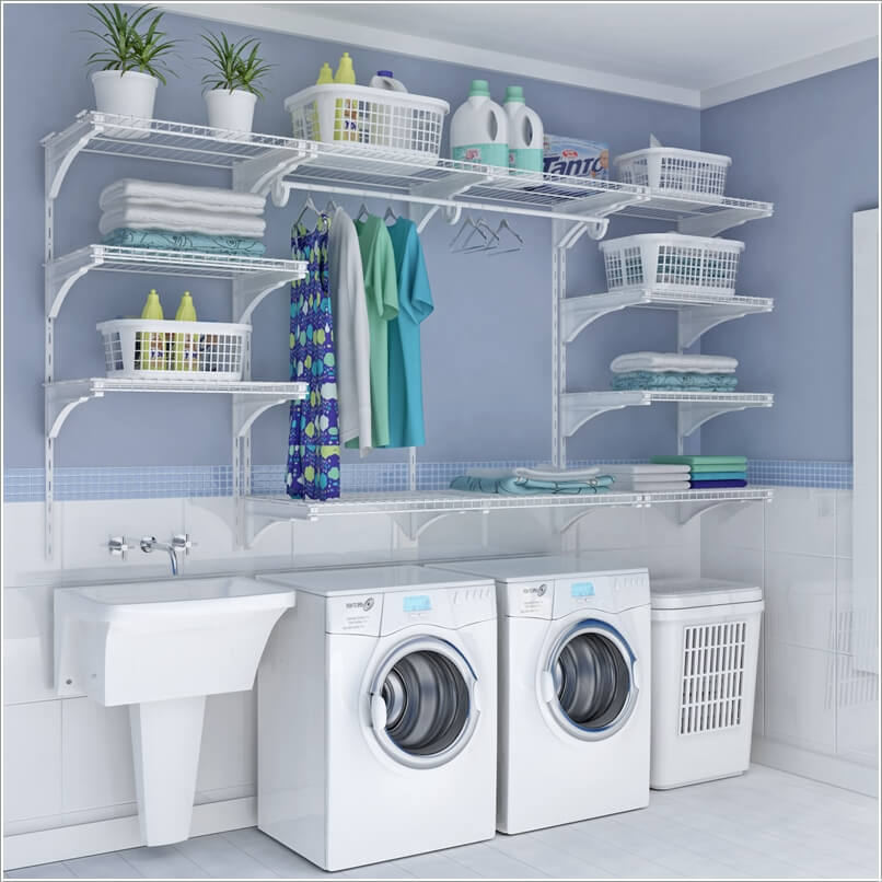 Choose laundry room shelving that suits your needs and style for Laundry room shelving