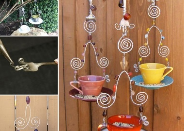 Make a Bird Feeder from Fork, Wire and a Teacup  fi