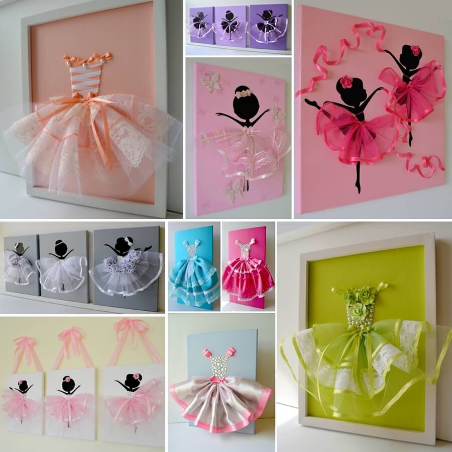 Make A Cute Tutu Dress Wall Art With Ribbons