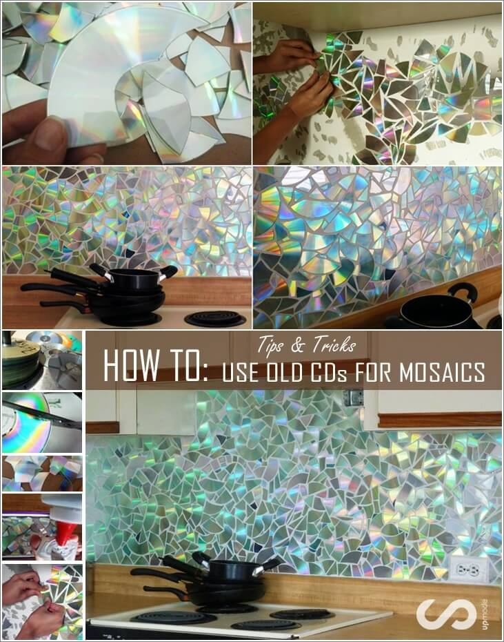 Make A Shining Mosaic Backsplash For Your Kitchen With Cds