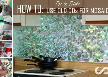 Make a Shining Mosaic Backsplash for Your Kitchen with CDs fi