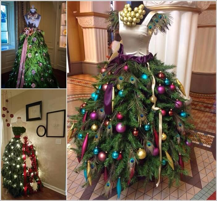 these christmas trees are made with mannequins - Christmas Tree Dress