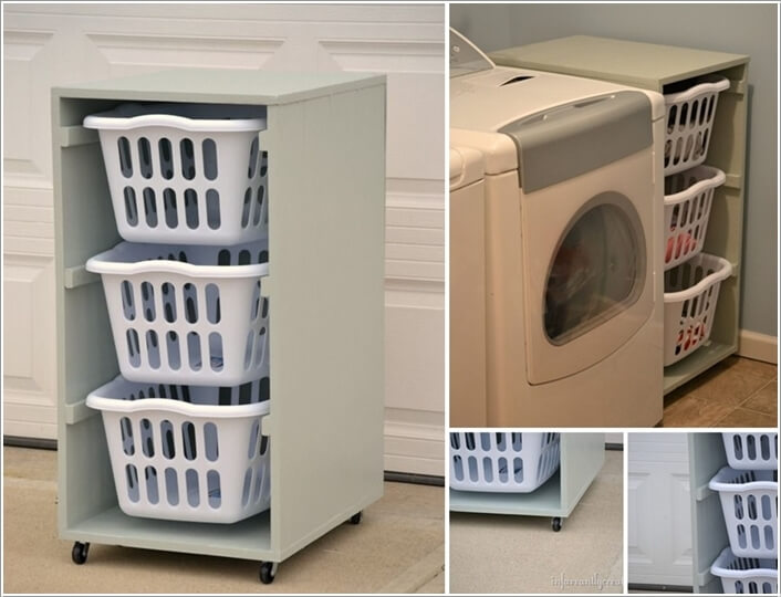 tiny laundry room organization ideas shelves storage baskets practical projects