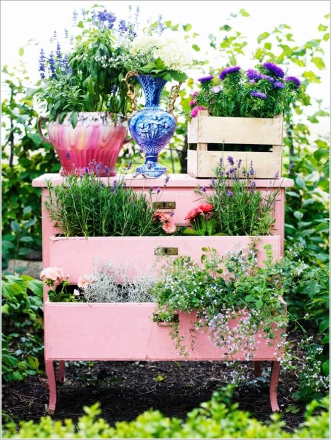 Cool and Creative Recycled Furniture Planter Ideas 3