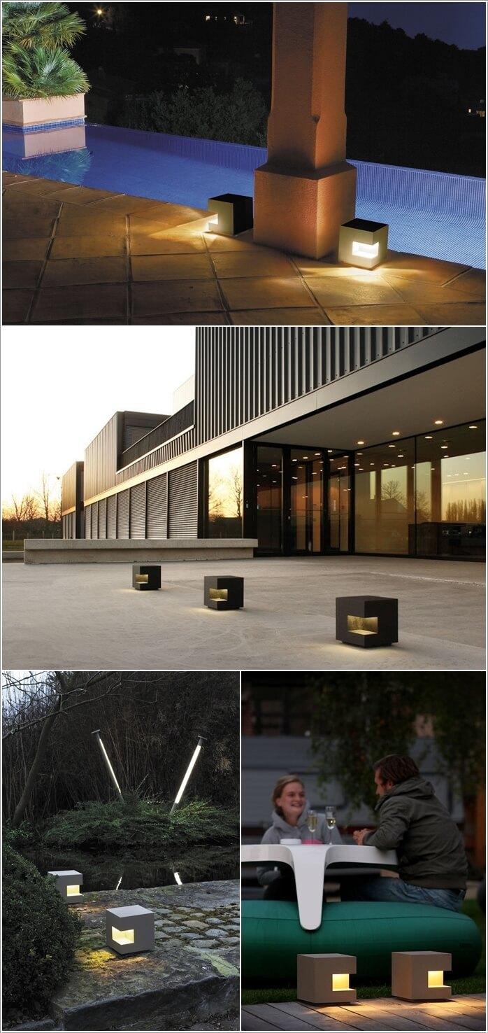 Floor lamp / contemporary / garden / metal