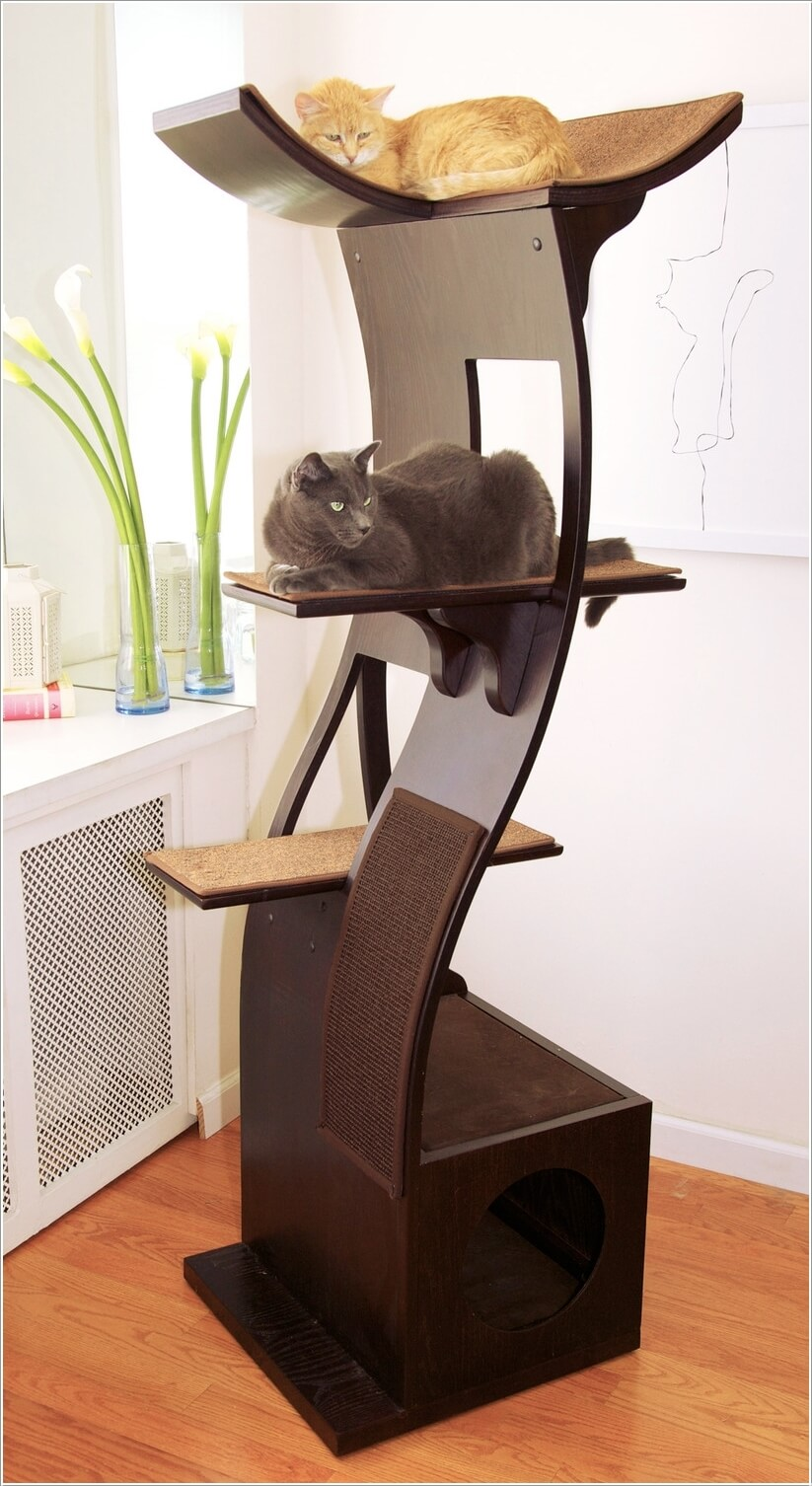 Cool cat tree furniture designs your cat will love for Cat climber plans