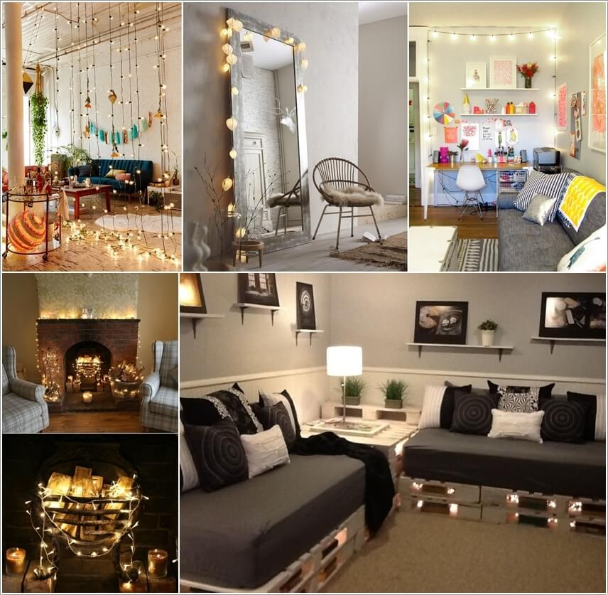 Decorate your living room with string lights for Lights for your room