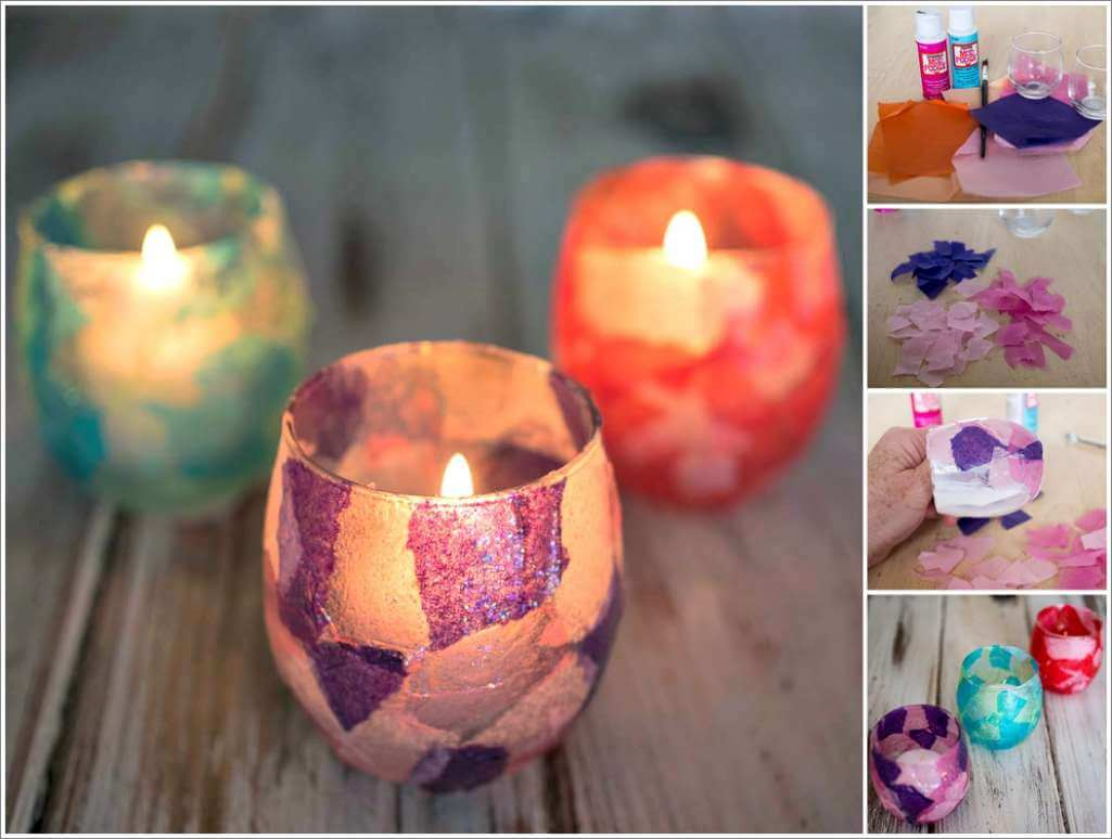 Lovely Stained Glass Votive Candle Holders