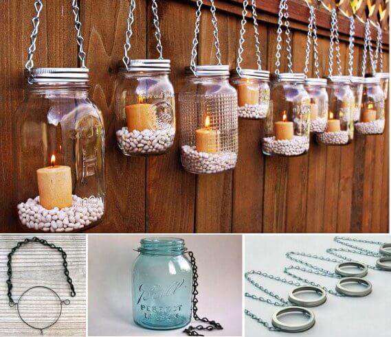 Make these beautiful hanging mason jar lanterns - Make hanging lanterns ...