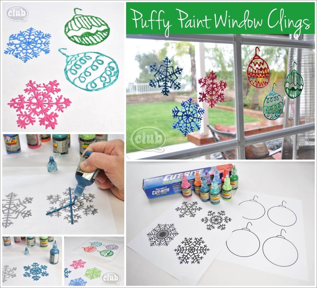 Make These Puffy Paint Window Clings for Holidays 1