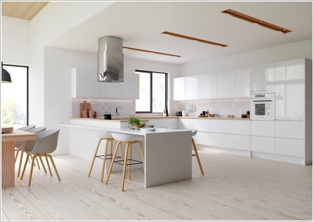 What kind of flooring looks good in a white kitchen for Kitchen designs 3m x 4m