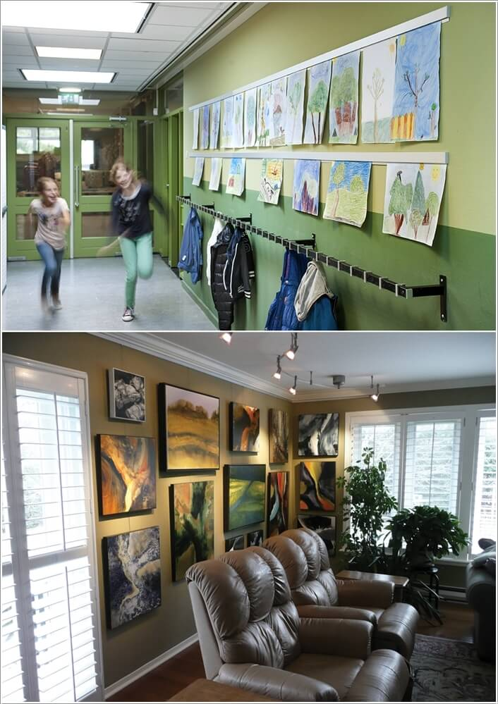 Amazing interior design Hang up paintings without nails