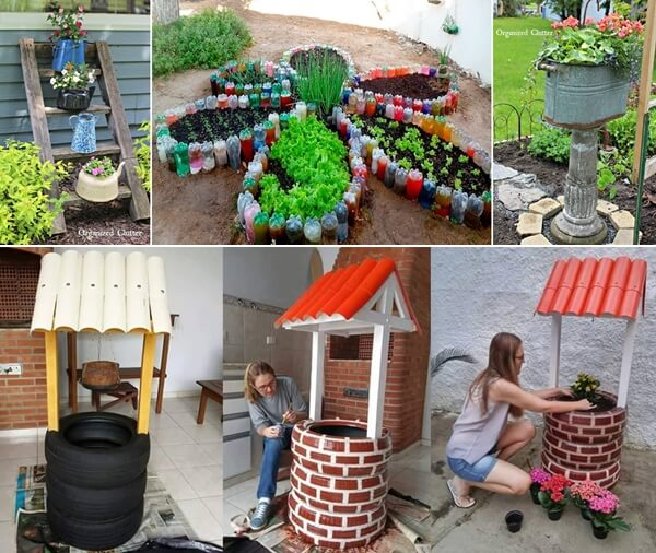 Small Water Garden Needs No Electricity Just Place Pots: Make An Outdoor Feature From Recycled Materials