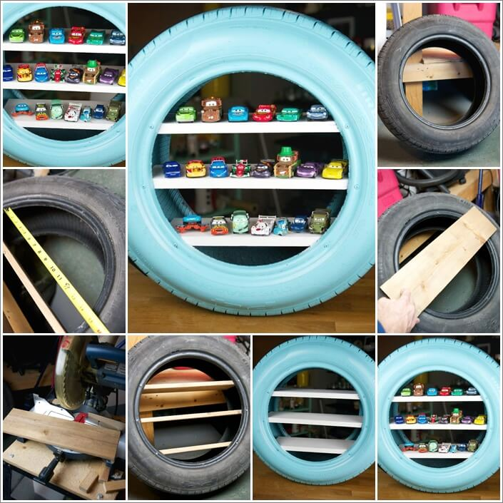 Make Toy Shelves from an Old Tire 1