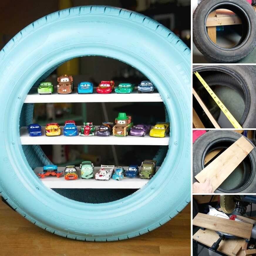 Amazing Interior Design Make Toy Shelves from an Old Tire