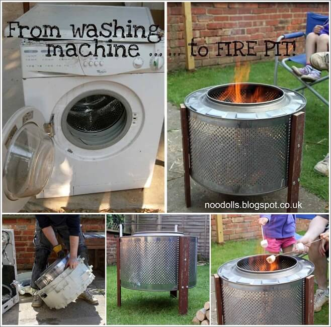 turn   washing machine drum   fire pit