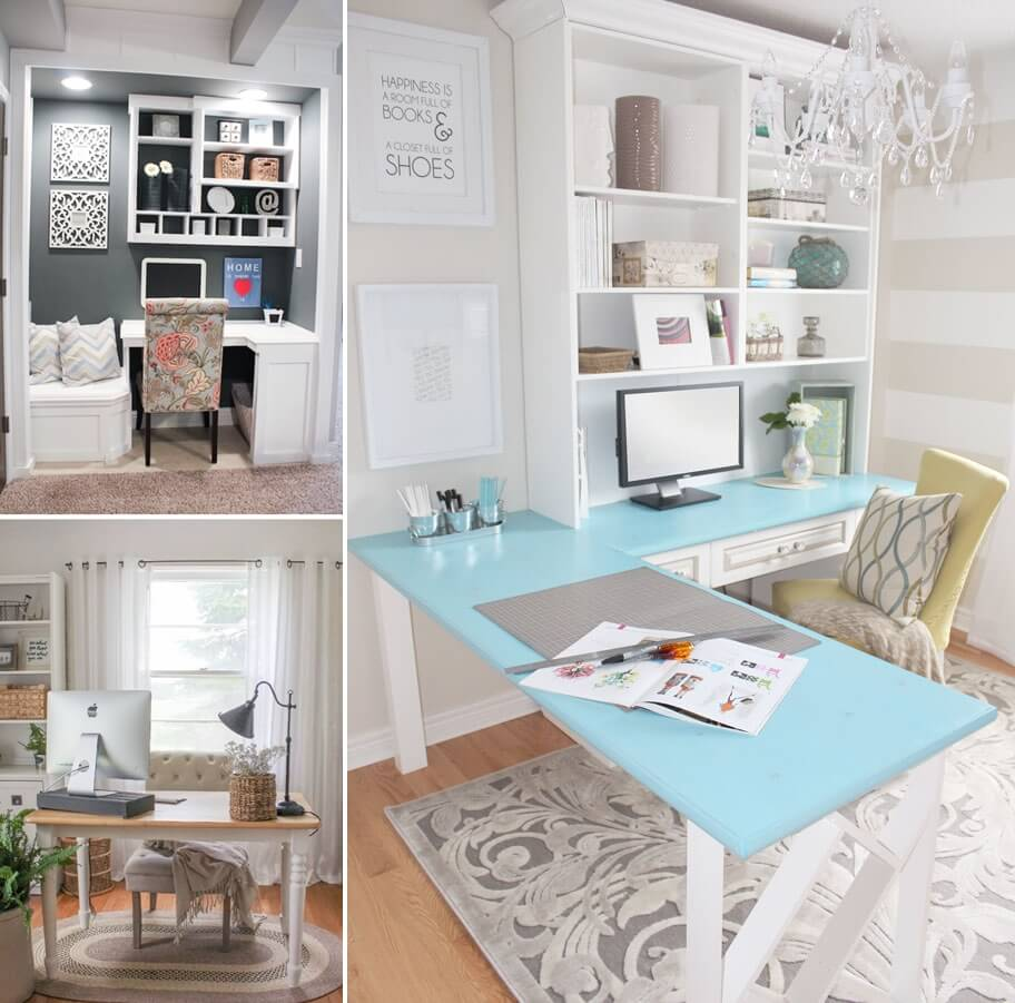 10 chic and beauteous home office desk ideas for Chic office ideas