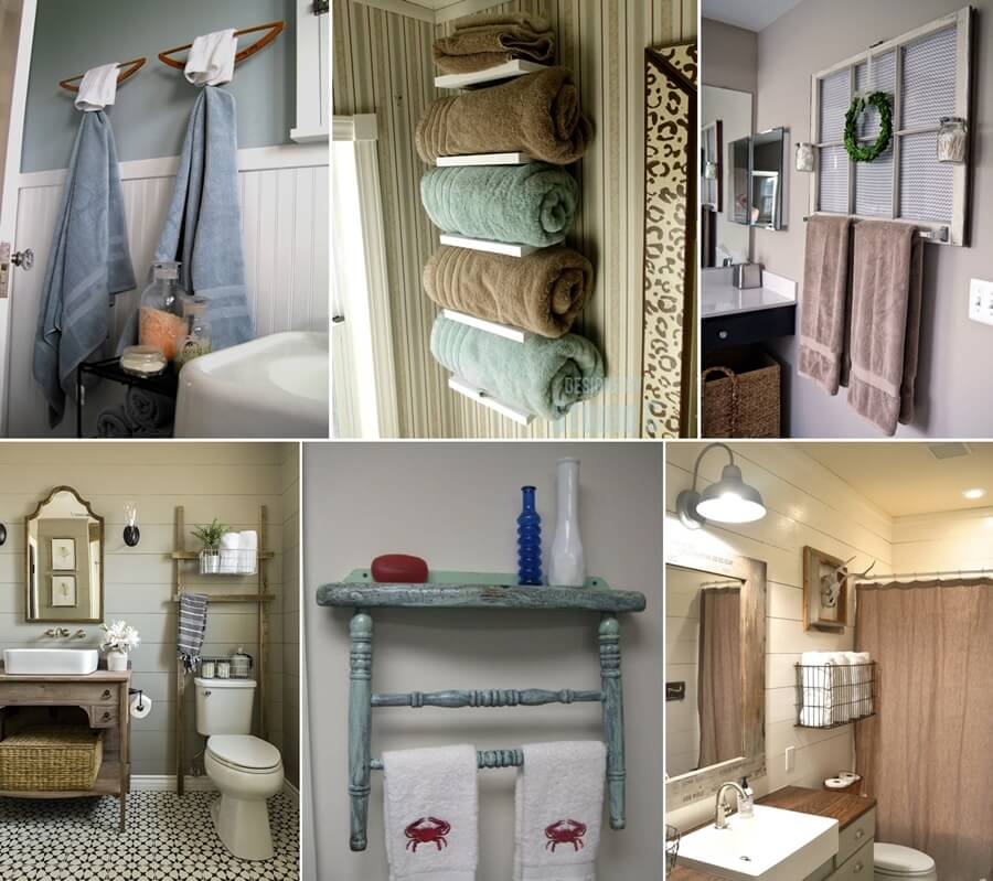 15 cool diy towel holder ideas for your bathroom for Bathroom decor and storage