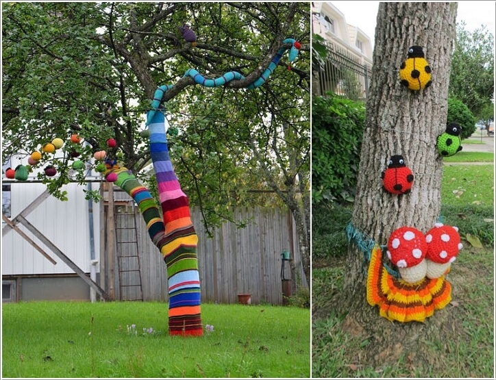 10 wonderful ideas to decorate an outdoor tree for Tree decorations for garden