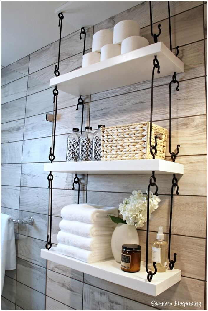 10 cool ways to decorate with suspended shelving for Bathroom decor and storage