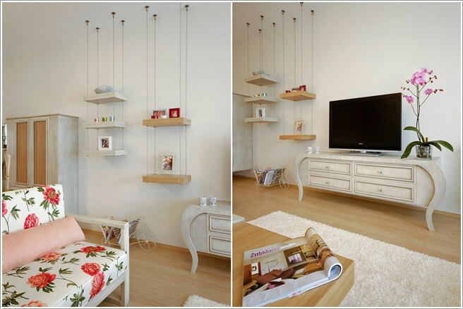 10 Cool Ways to Decorate with Suspended Shelves 5