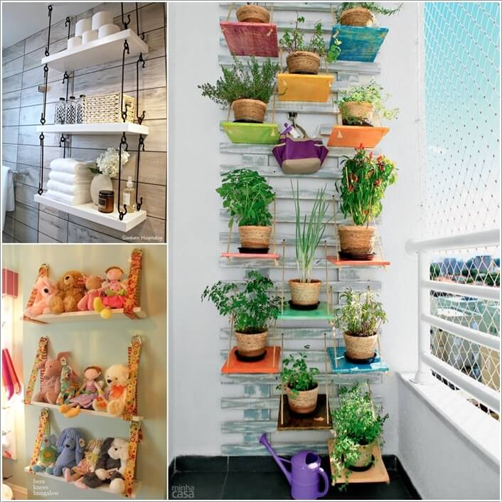 10 Cool Ways to Decorate with Suspended Shelves a