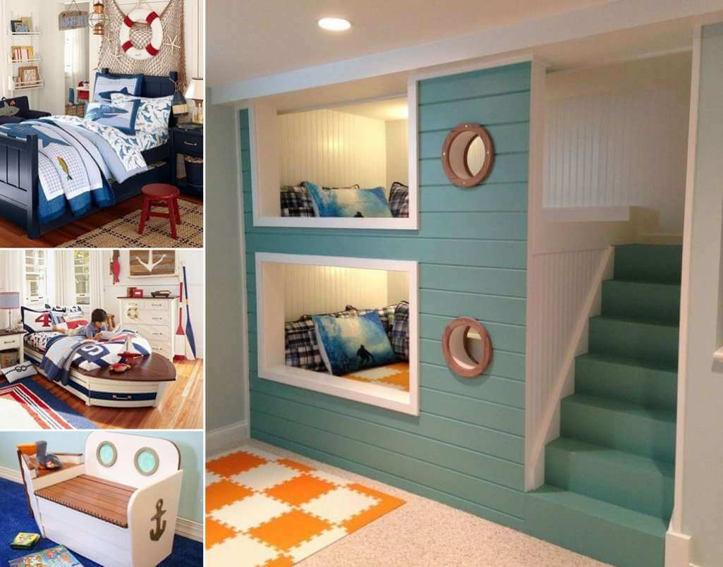 10 cool nautical kids 39 bedroom decorating ideas for Cool bedroom designs for small rooms