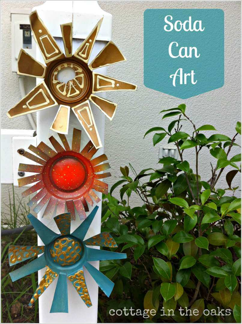 10 Creative Flower Crafts for Garden Made from Recycled Materials 3