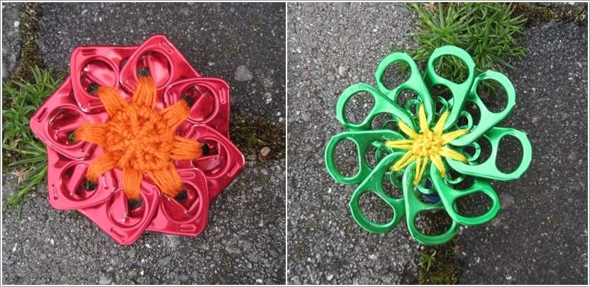 10 creative flower crafts for garden made from recycled for Anything made by waste material