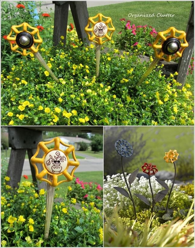10 Creative Flower Crafts For Garden Made From Recycled Materials