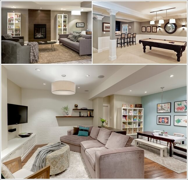 10 interesting ideas for decorating a basement