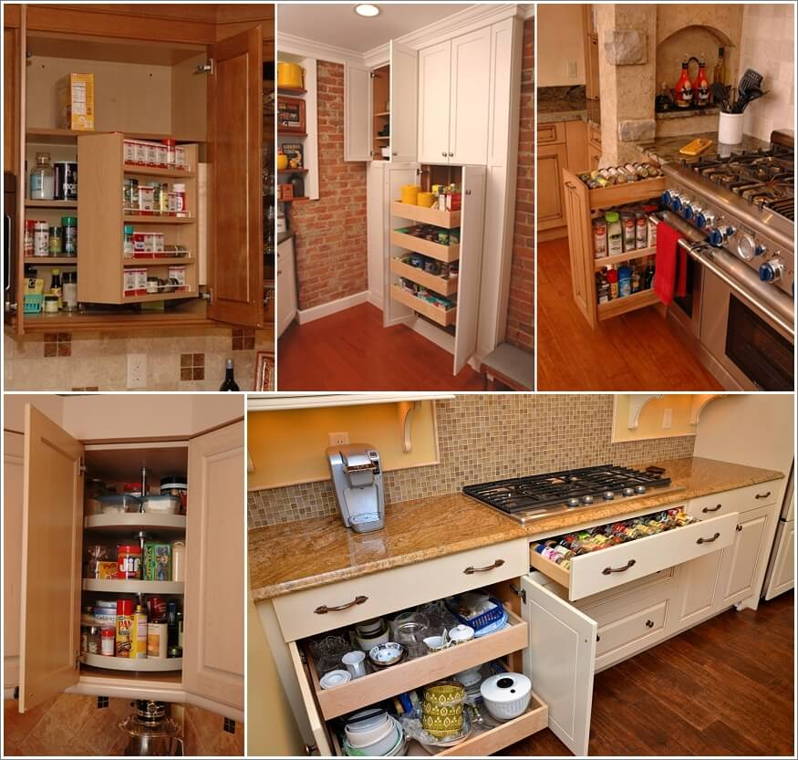 Cool space saving ideas kitchen custom kitchen cabinets for Bathroom cabinet accessories