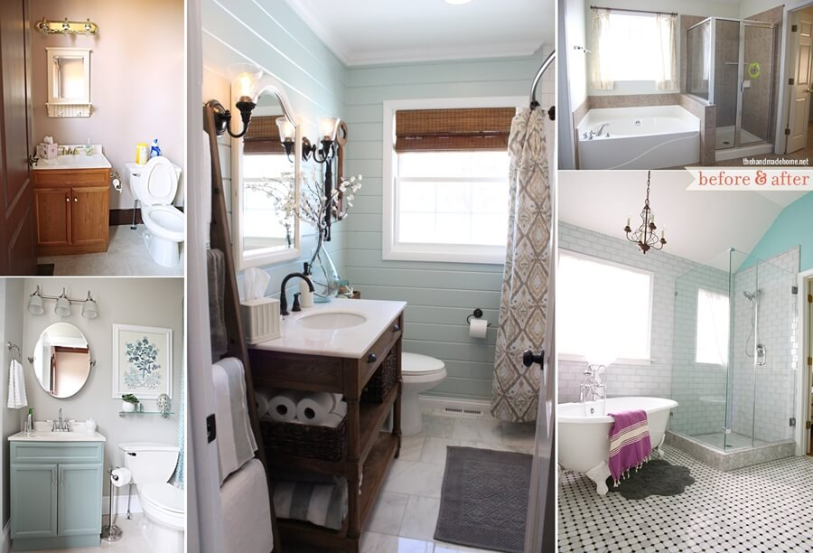 Over 20 beautiful before and after bathroom makeovers for Before and after small bathroom makeovers
