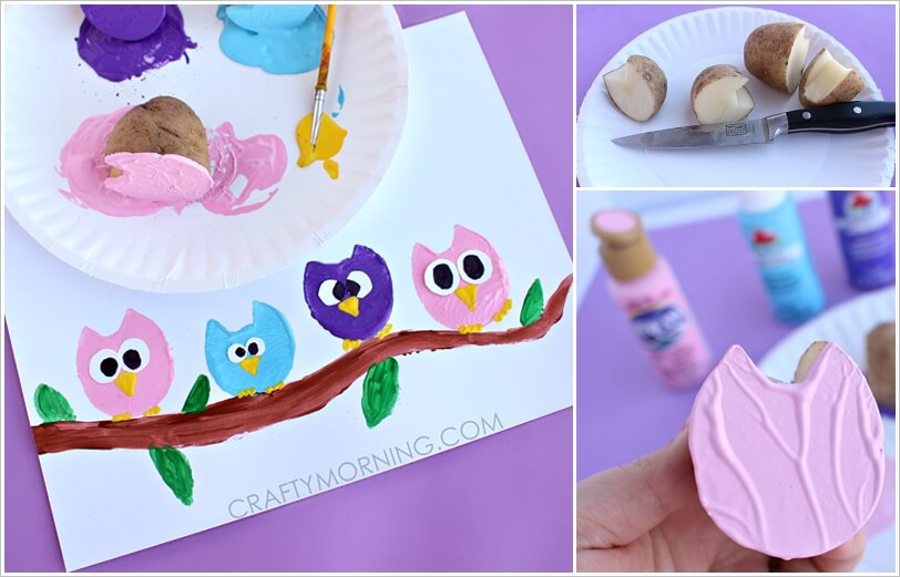 These Potato Print Owls Are Just Adorable 1