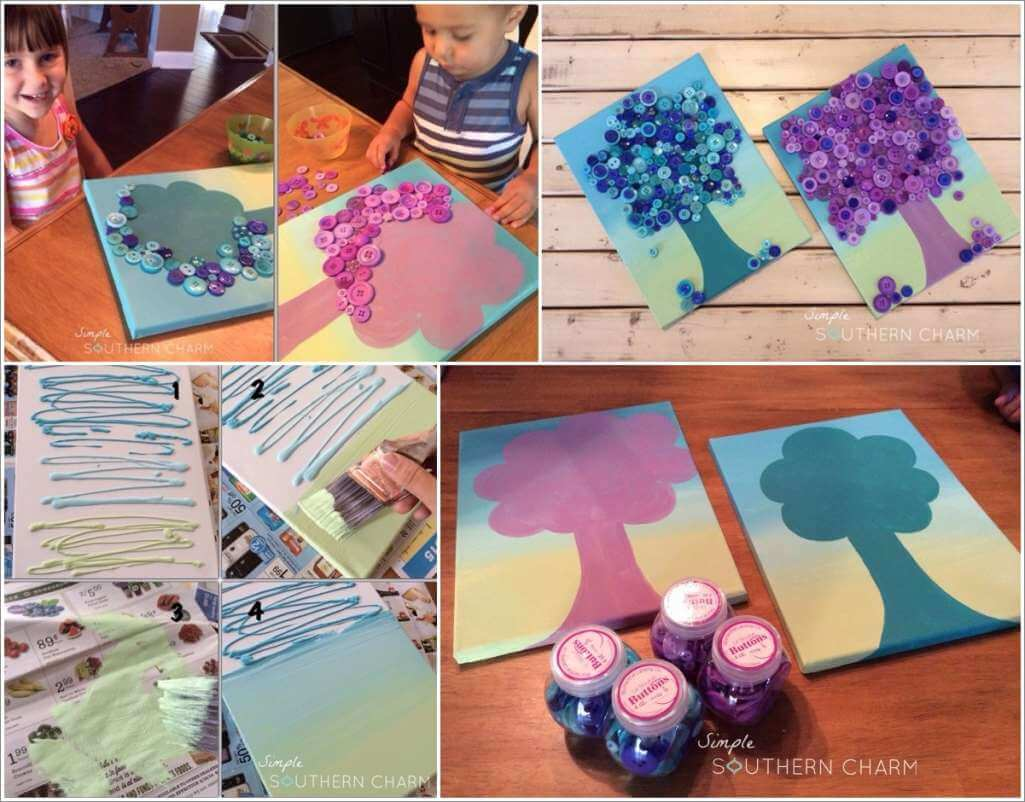 Try This Cute Ombre Button Tree Wall Art 1