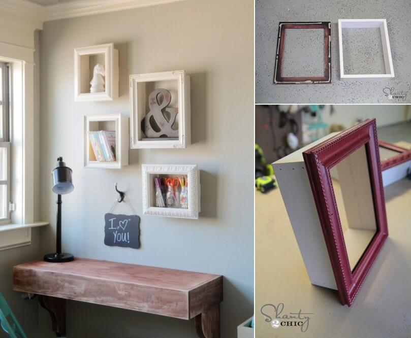 try these wonderful diy frame shelves. Black Bedroom Furniture Sets. Home Design Ideas