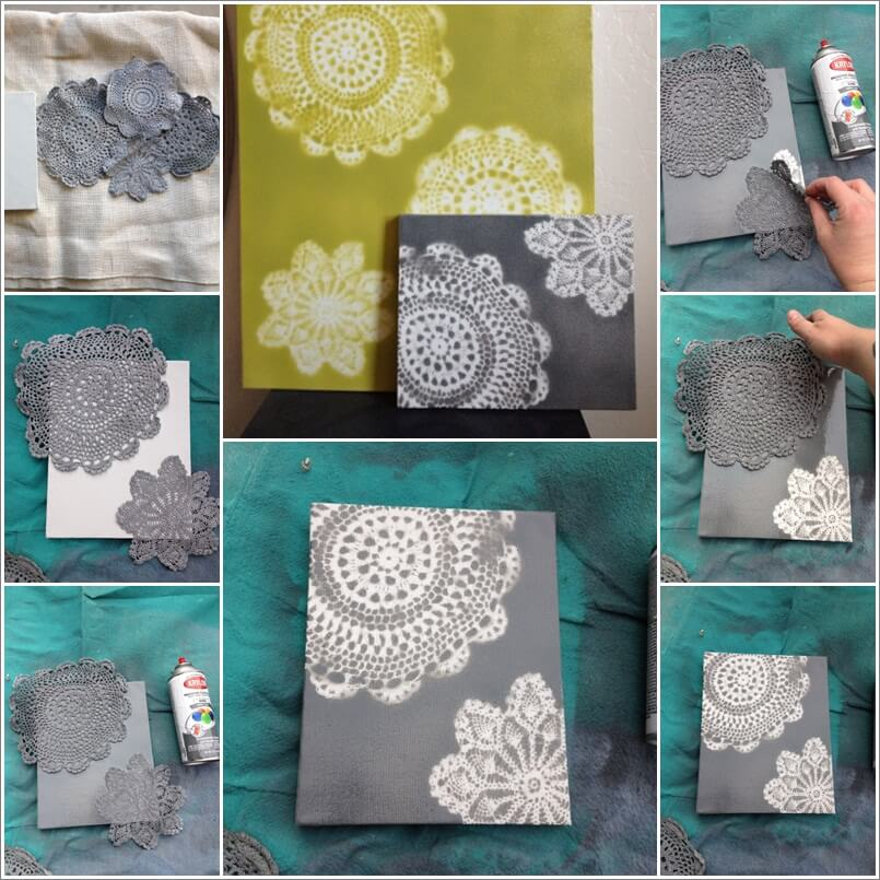 Try This Spray Painted Doily Canvas Art 1